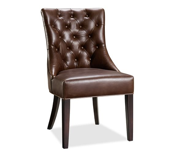 Hayes Tufted Leather Dining Side Chair Pottery Barn