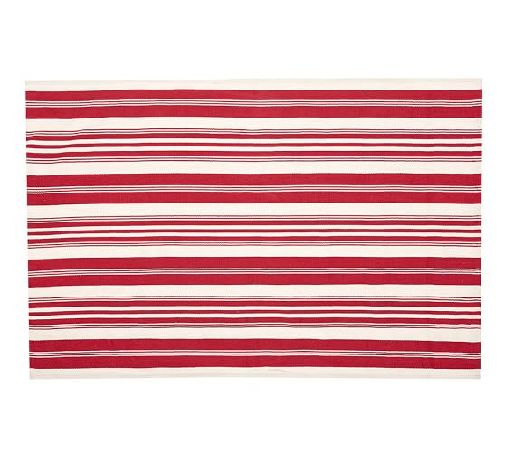 Oxford Stripe Recycled Yarn Indoor/Outdoor Rug, 5x8', Red