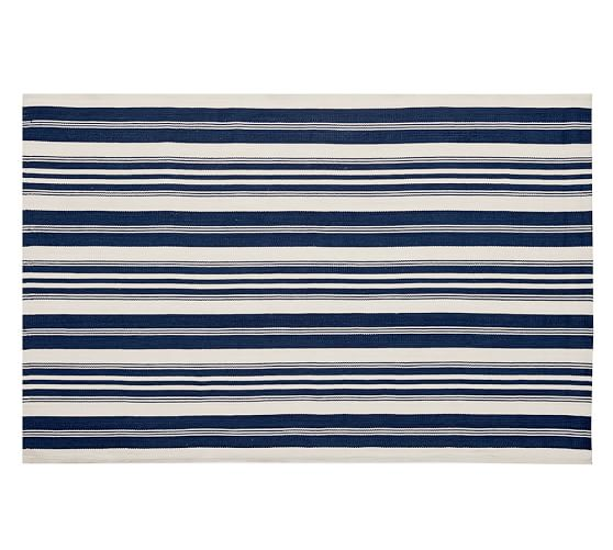 Oxford Stripe Recycled Yarn Indoor/Outdoor Rug, 5x8', Blue