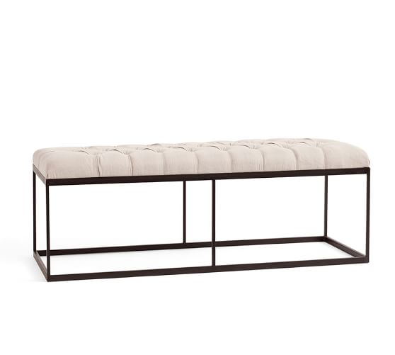 Albany Tufted Upholstered Bench Pottery Barn