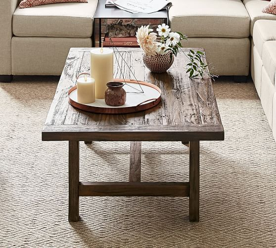 Pine Coffee Table With Baskets: Bartol Reclaimed Pine Coffee Table