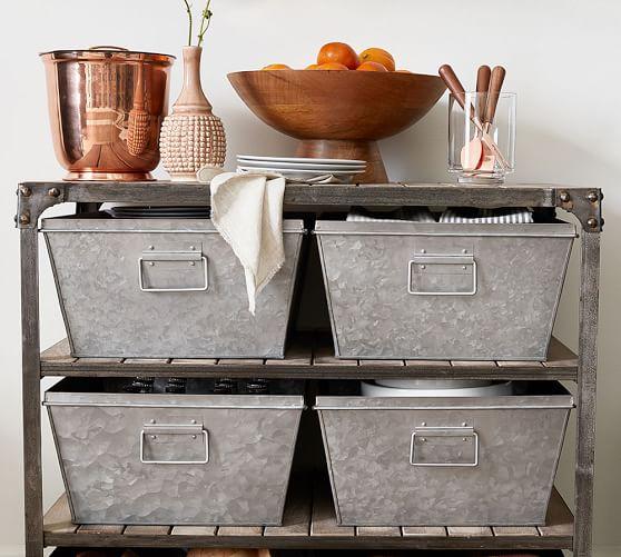 galvanized nesting bin pottery barn. Black Bedroom Furniture Sets. Home Design Ideas