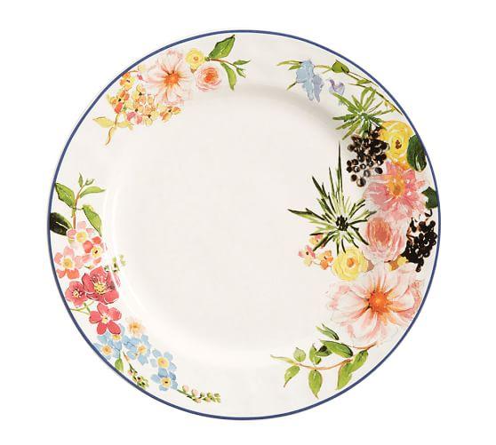 Floral Rim Dinner Plate, Set of 4