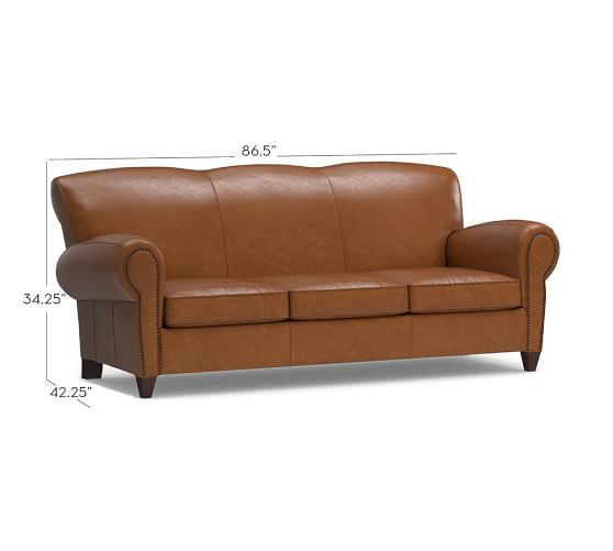 Manhattan leather sleeper sofa with nailheads pottery barn for Sectional sleeper sofa pottery barn
