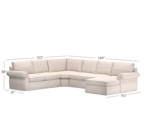 Pearce slipcovered 4 piece chaise sectional with wedge for 4 piece sectional sofa with chaise