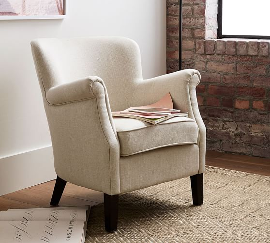 Soma Petite Minna Roll Arm Upholstered Armchair Pottery Barn