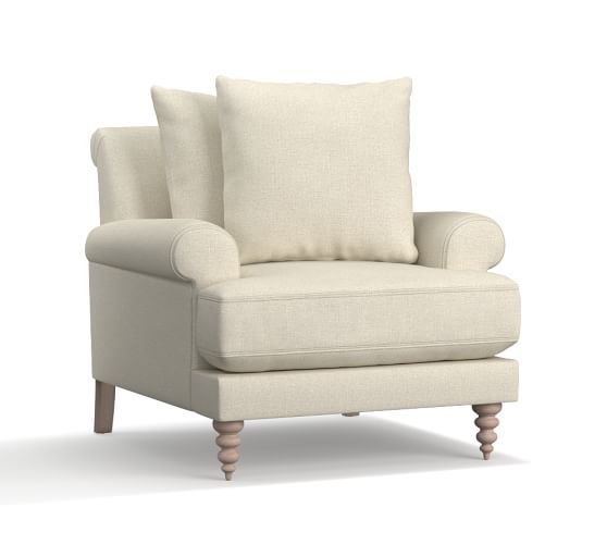 Amalie Upholstered Armchair, Polyester Wrapped Cushions, Basketweave Slub Oatmeal