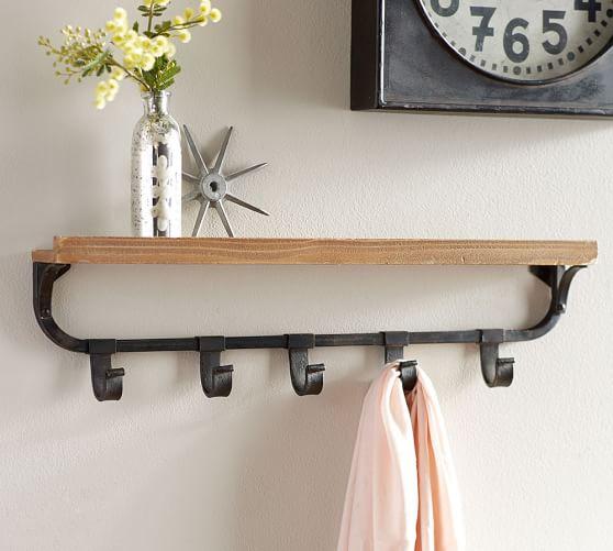 Wall Shelf with Flat Iron Hooks