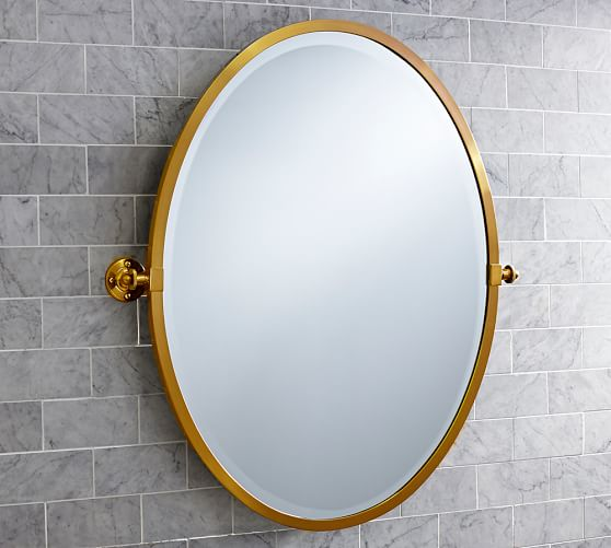 Kensington Pivot Oval Mirror Pottery Barn