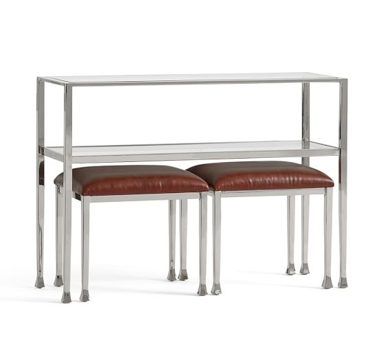 Tanner Leather Stool Polished Nickel Finish Pottery Barn