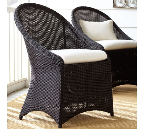 Palmetto all weather wicker dining chair black pottery for All weather wicker furniture