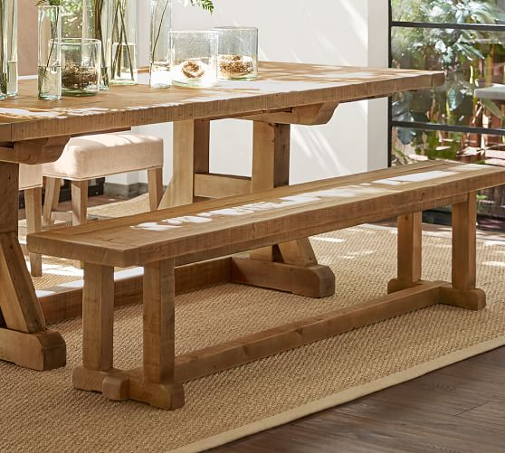 Stafford reclaimed wood bench pottery barn for Pottery barn bench plans