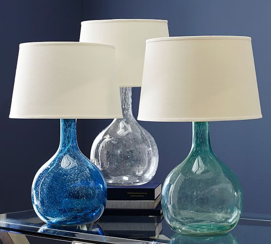 eva colored glass table lamp pottery barn. Black Bedroom Furniture Sets. Home Design Ideas