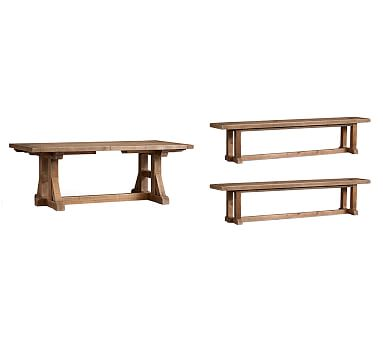 Stafford Reclaimed Pine Extending Table Amp Bench 3 Piece