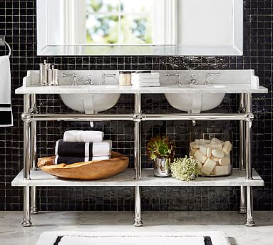 Apothecary double sink console pottery barn for Apothecary style bathroom vanity