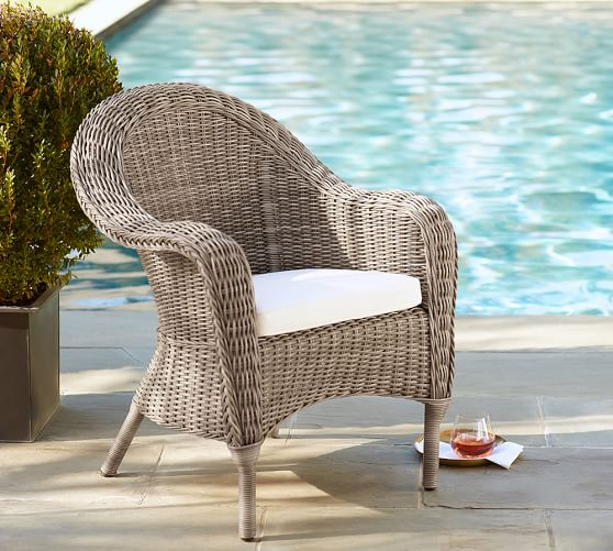 Torrey All Weather Wicker Roll Arm Dining Chair Natural