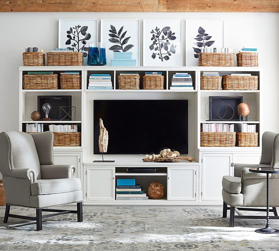 Logan Media Suite With Door Bookcase Amp Bridge Pottery Barn