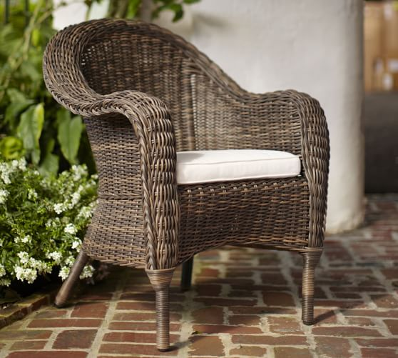 Torrey all weather wicker roll arm dining chair espresso for All weather wicker furniture