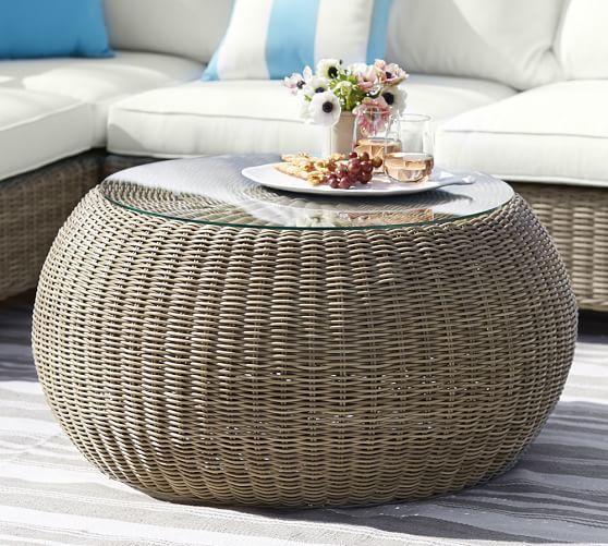 Woven Rattan Coffee Table: Torrey All-Weather Wicker Round Coffee Table