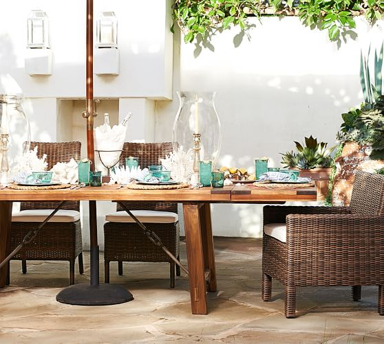 - Benchwright Outdoor Rectangular Extending Dining Table Pottery Barn