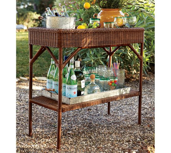 Palmetto All Weather Wicker Bar Console Honey Pottery Barn