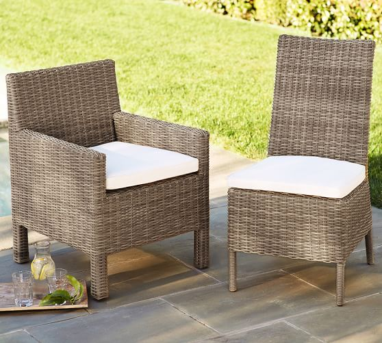 Torrey all weather wicker square arm dining chair for All weather wicker furniture