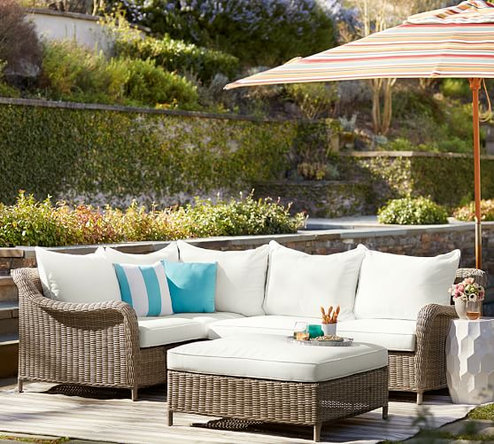 Build your own torrey all weather wicker roll arm sectional components natural pottery barn - Outdoor sectionals for small spaces collection ...