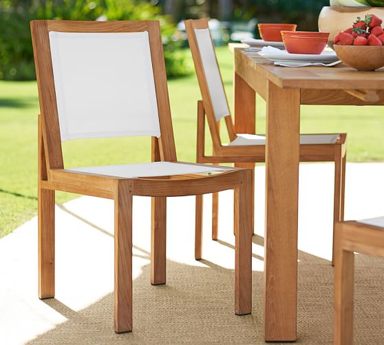 madera teak mesh stacking dining chair pottery barn