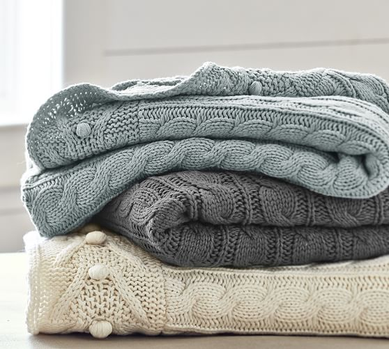 Cable Knit Throw Pottery Barn