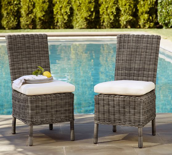 Huntington all weather wicker dining chair pottery barn for All weather wicker furniture