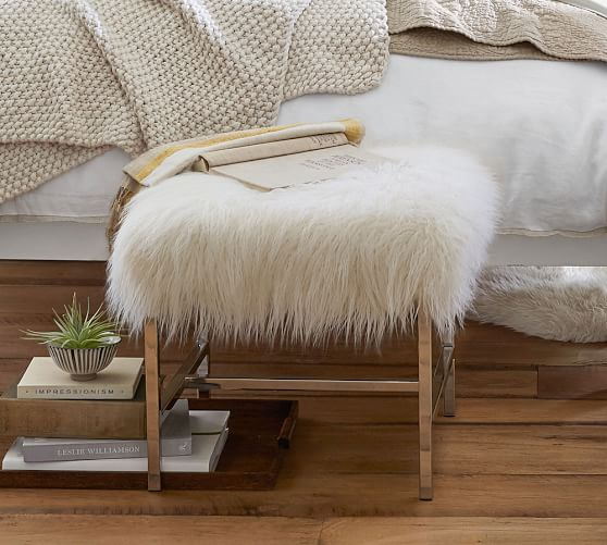 Tavi Mongolian Faux Fur Stool Pottery Barn