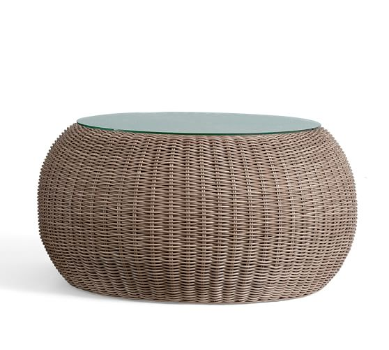 Round Wicker Coffee Table With Stools: Torrey All-Weather Wicker Round Coffee Table