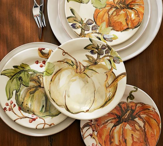 Watercolor Painted Pumpkin Salad Plate Mixed Set Of 4