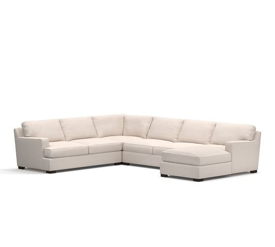 Townsend upholstered square arm 4 piece sectional with for 4 piece sectional with chaise