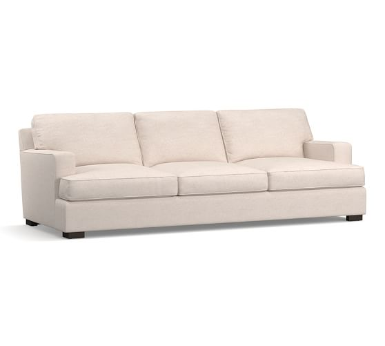 """Townsend Square Arm Upholstered Grand Sofa 101.5"""", Polyester Wrapped Cushions, Twill White"""