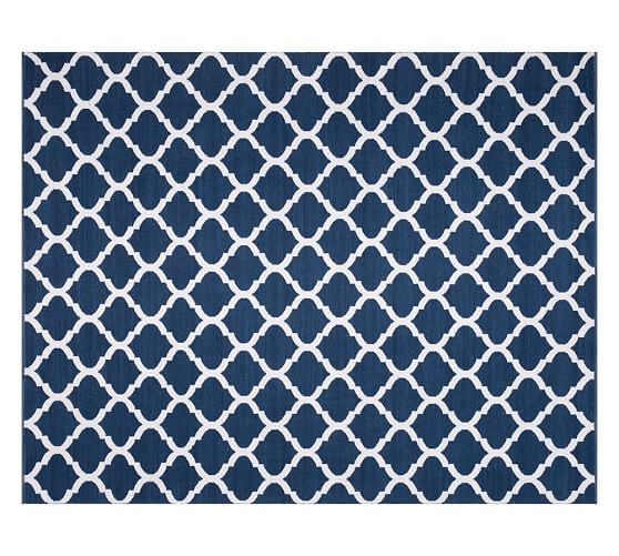 Becca tile reversible indoor outdoor rug blue pottery barn for Blue indoor outdoor rug