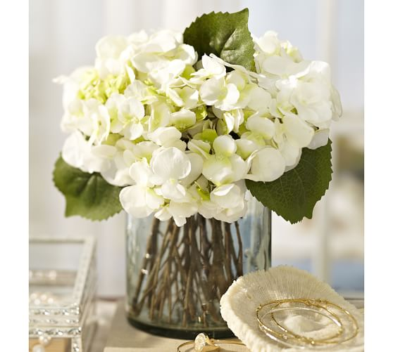 Faux white hydrangea arrangement in glass vase pottery barn