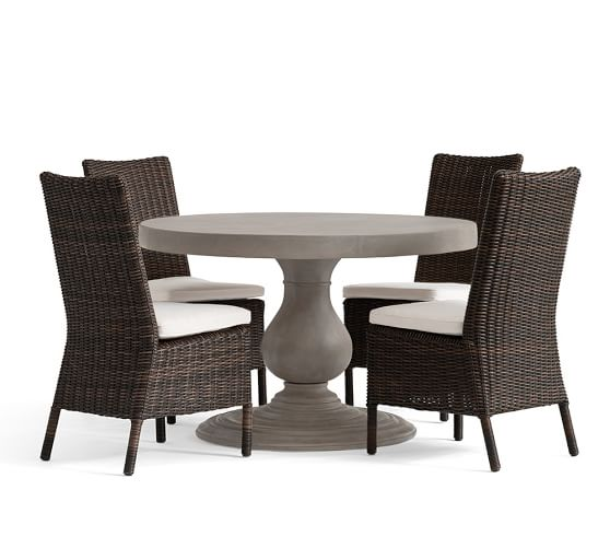 Geneva Concrete Round Dining Table Amp Torrey Side Chair Set