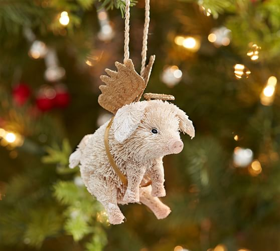 Bottle Brush Pig With Angel Wings Ornament