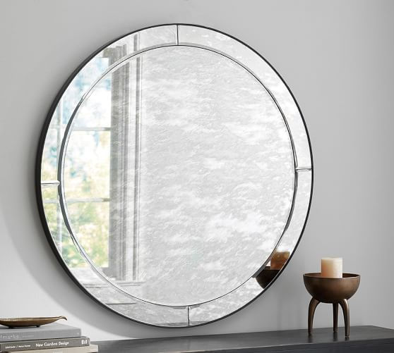 Walker antiqued round glass mirror pottery barn for Mirror over mirror