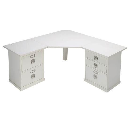 Bedford 5- Drawer Corner Desk, Antique White