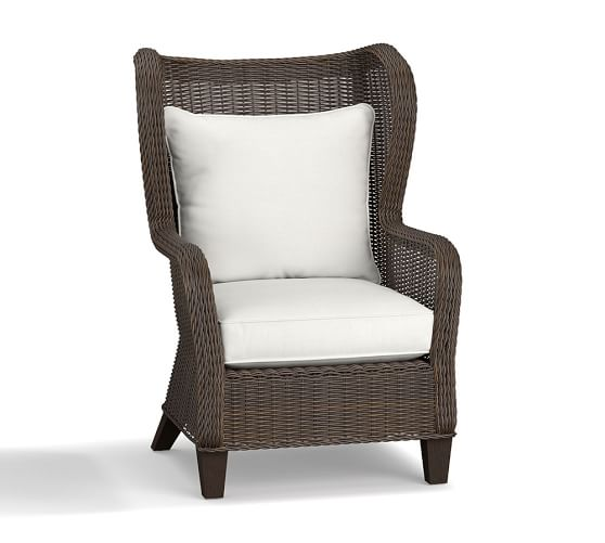 Torrey All Weather Wicker Wingback Chair Espresso