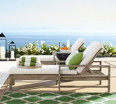 Indio single chaise pottery barn for Chaise de patio