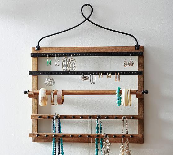 Wall Decoration Using Bangles : Pine iron wall mounted jewelry hanger pottery barn