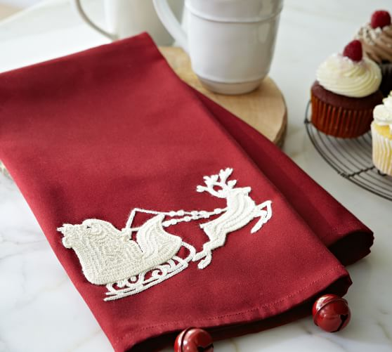 Sleigh Bell Crewel Embroidered Tea Towel