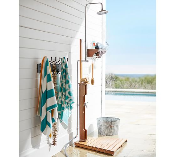 Outdoor shower wall mount shower shelf pottery barn for Pool showers