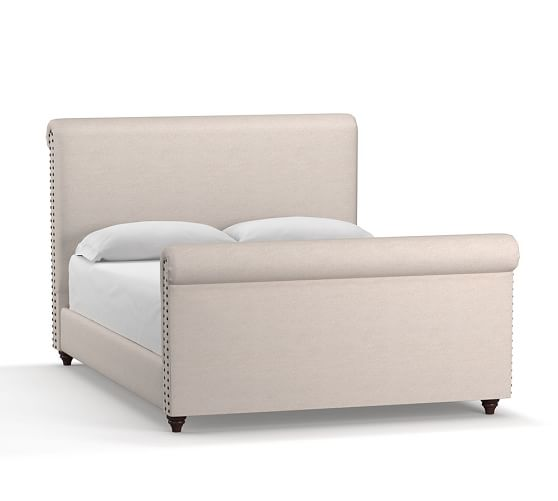 Chesterfield Upholstered Non-Tufted Bed & Tall Footboard with Bronze Nailheads, California King, Linen Oatmeal