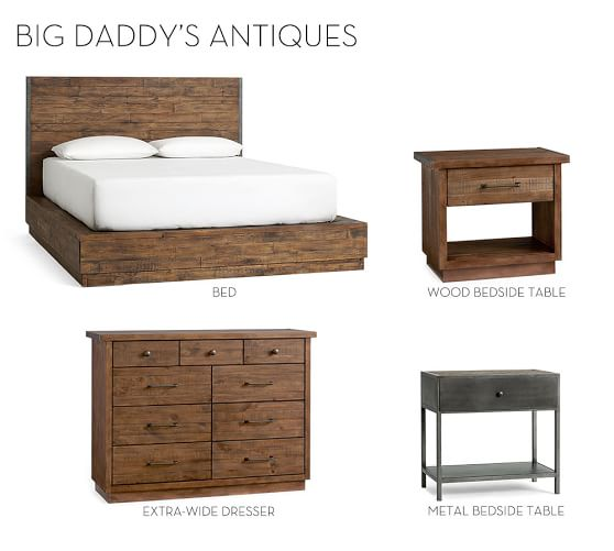 big daddy 39 s antiques reclaimed wood bed pottery barn