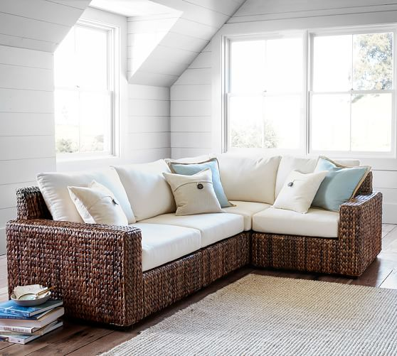 Seagrass square arm 4 piece sectional pottery barn for Seagrass living room furniture
