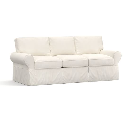 PB Basic Sleeper Sofa, Polyester Wrap Cushions, Denim Warm White